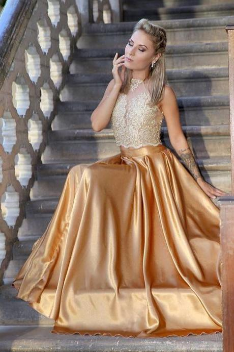 New Arrival Two Pieces Long Prom Dresses Gold Satin Women Party Gowns 2018 Off Shoulder Lace Prom Gowns ,2 pieces cocktail dress, wedding women gowns , girls party dresses