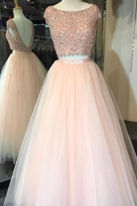 Luxury Two Pieces Long Prom Dresses Plus Size Wedding Party Gowns 2018 Custom Made Girls Women Gowns ,Long Evening Gowns.Plus Size Women Gowns ,High Quality Beaded Party Gowns