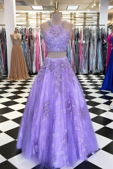 Plus Size Lavender Tulle Prom Dress 2018 Off Shoulder Two Pieces Women Gowns ,Little Girls Gowns , Wedding Guest Gowns, Formal Party Gowns ,Halter Women Gowns