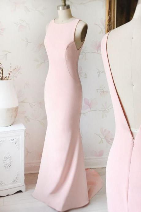 2018 Plus Size Pink Mermaid Prom Dresses Sexy Back Open Long Prom Gowns Custom Made Formal Evening Gowns ,Wedding Party Gowns ,Summer Gowns ,Wedding Guest Gowns