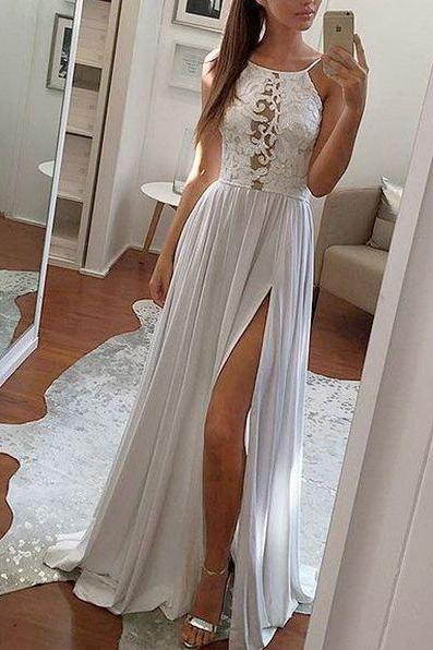 New Arrival Sexy prom dress,long prom dress, prom dresses, fashion, womens fashion,2018 White High Slit Long Evening Gowns , Plus Size Wedding Party Gowns