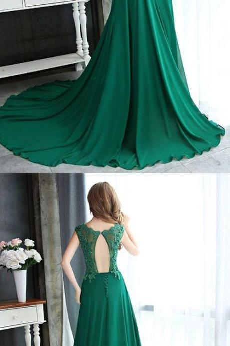 Green A-line Scoop Neck Formal Dress, Chiffon Lace Party Gowns, Appliques Long Evening Dress,Sexy Back Open Cheap Wedding Guest Dresses, Women Party Gowns . Sweep train Women Gowns