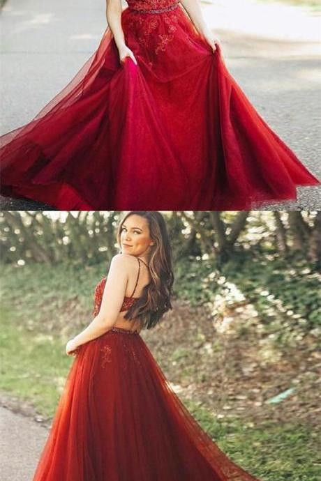 A-Line Spaghetti Straps Dark Red Long Prom Dress with Appliques,2018 Plus Size Wedding Party Gowns , Girls Prom Gowns , Women Party Dresses, Summer Women Gowns