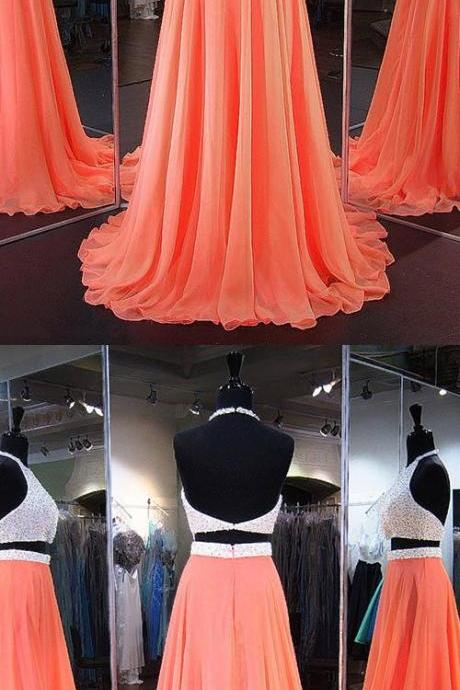 New Arrival Two Pieces Beaded Prom Dresses, 2018 Custom Made 2 Pieces Cocktail Gowns , Off Shoulder Long Evening Gowns , Formal Party Gowns ,Wedding Women Gowns