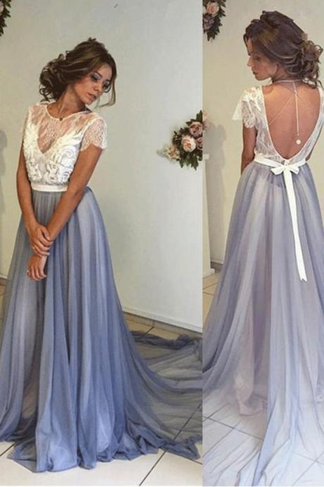 Sweep/Brush Prom Dresses, Blue Sweep/Brush Prom Dresses, Sweep/Brush Long Prom Dresses, A-line Long Blue Open Back Lace Tulle Simple Cheap Beautiful Prom Dresse