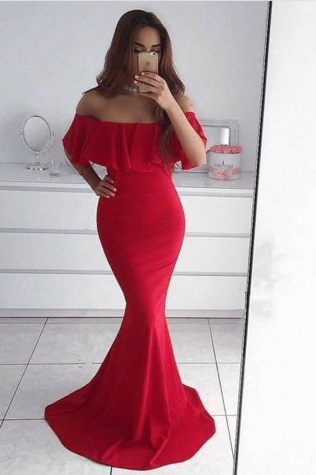 2018 Plus Size Mermaid Prom Dresses ,Off Shoulder Wedding Party Dress, Red Prom Gowns ,Women Party Gowns ,Custom Made Wedding Women Gowns .