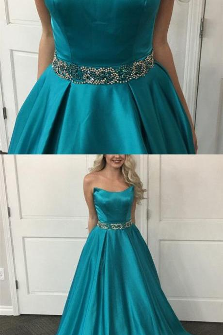 Teal Green Satin Strapless Straight-Across Floor Length A-Line Prom Dress Featuring Beaded Embellished Belt and Sweep Train