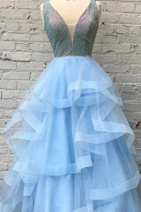 Light Blue V-neck Beaded Tulle Long Prom Dress, Elegant Ruffles Prom Dresses ,2018 A Line Women Party Gowns , Crystal Corset Evening Dresses,Formal Women Party Gowns , Wedding Guest Gowns