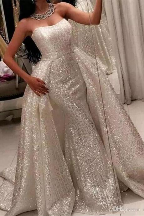 Sparkly White Saudi Arabic Prom Dresses 2108 Detachable Over Skirt Sweep Train Mermaid Formal Dress Evening Wear Newest Sequined Party Gowns, Shiny Women Party Gowns ,Plus Size Women Gowns ,Wedding Party Gowns