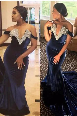 Elegant Velvet Mermaid Evening Dresses 2018 Stunning Pearls Off the Shoulder African Navy Blue Prom Gowns Lace Appliqued Dress For Partys, Mermaid Prom Gowns