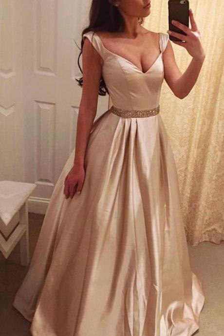 Exquisite Satin V-neck Neckline A-line Prom Dress With Beadings 2018 Plus Size Spghetti Straps Beaded Long Prom Gowns ,Formal Evening Gowns ,Wedding Guest Gowns ,A Line Pageant Gowns