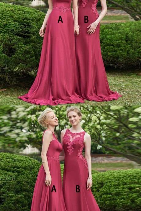 A-Line Bateau Sweep Train Dark Red Prom Dress with Appliques 2018 Sexy Bridesmaid Dresses, Plus Size Wedding Party Dresses, A Line Women Party Gowns