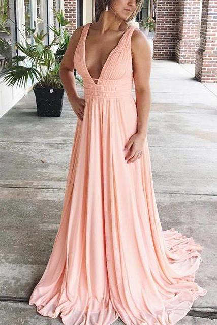 2018 Plus Size Wedding Party Gowns Sexy V Neck Long Prom Gowns Floor Length Chiffon Girls Pageant Gowns ,Custom Made Women Party Gowns ,A Line Summer Gowns