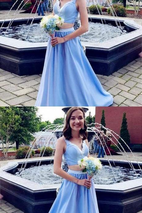Two Piece Prom Dresses, A-Line Blue Satin Bridesmaid Dresses Long, Two Piece Bridesmaid Dresses,2018 Sky Blue Women Party Dresses ,Long Maid Of Honor Dresses