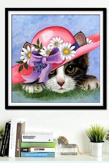 Full,Diamond Embroidery,Animal,Cat,Cut,5D,Diamond Painting,Cross Stitch,3D,Diamond Mosaic,Needlework,Christmas,Gift,Crafts,animal diamond painting