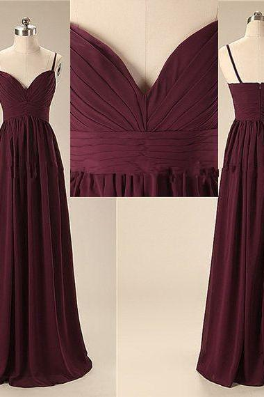 Burgundy Sheath Chiffon Long Dress with Ruched Bodice - Prom Dress, Homecoming Dress, Evening Dress, 2018 Cheap Prom Dresses , ,Plus Size Wedding Guest Gowns , Girls Pageant Dresses