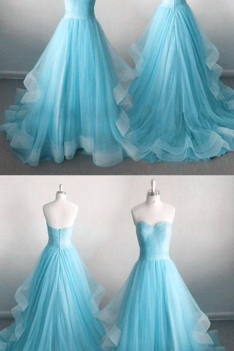 Sexy Sweetheart A-Line Prom Dresses,Long Prom Dresses,Cheap Prom Dresses, Evening Dress Prom Gowns, Formal Women Dress,Prom Dress,Sky Blue Ruffle Wedding Party Gowns ,