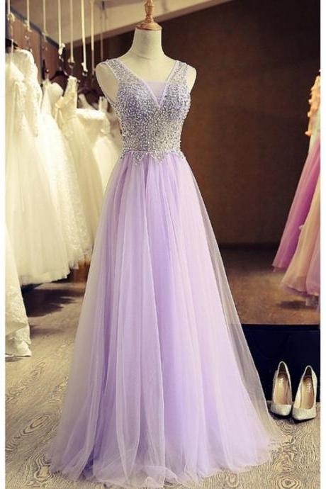 A-Line Beaded Lilac Tulle Prom Dresses Party Evening Gowns 2018 Plus Size Beaded Prom Gowns ,Formal Women Gowns , Wedding Party Dresses, Girls Pageant Gowns .
