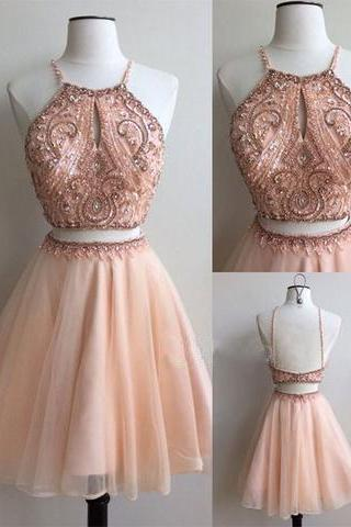 two pieces short beaded short homecoming dress, cheap prom dress for girl,2018 Halter Beaded Cocktail Dresses, Plus Size Women Party Gowns ,A line Women Gowns , Wedding Party Dresses