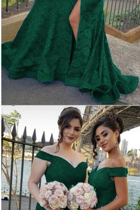 green lace bridesmaid dresses v-neck off the shoulder mermaid formal gowns for weddings,Plus Size Mermaid Bridesmaid Gowns , Off Shoulder Women Gowns , Pageant Gowns