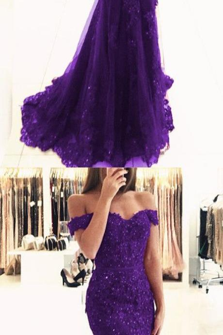 purple lace mermaid prom dresses beaded v neck evening gowns off the shoulder prom dress,2018 Plus Size Women Party Dresses,Girls Pageant Gowns ,A Line Party Dresses