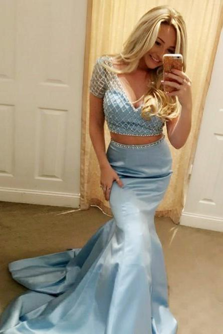 Two Pieces Prom Dress with Crop Top 2018 Plus Size Mermaid Prom Dresses,Custom Made eaded Prom Gowns ,Short Sleeve Women Gowns ,Girls Pageant Gowns ,Plus Size Wedding Guest Gowns