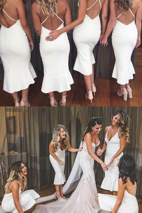 Mermaid Spaghetti Straps Tea-Length White Bridesmaid Dress 2018 White Satin Brides Maid Dresses, Sexy Backless Women Party Gowns , Custom Made Women Party Gowns
