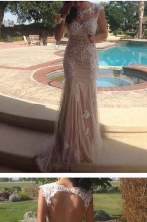 Charming Appliques Mermaid Prom Dress, Open Back Tulle Prom Dresses, Long Evening Dress 2018Plus Size Appliqued Long Evening Dresses, Women Party Gowns ,Wedding Women Gowns