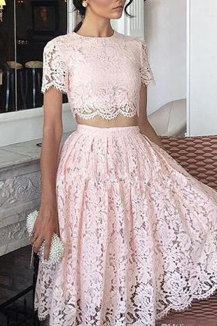 Charming Short Sleeve Prom Dress, Pink Lace Prom Dresses, Two Piece Prom Gowns ,2018 Plus Size 2 Pieces Prom Dress, Wedding Party Gowns , A Line Lace Party Gowns