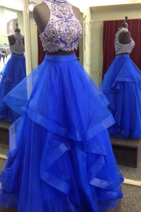 Tulle Royal Blue Prom Dress, Crystal Beading Prom Dresses, Long Homecoming Dress,2018 Luxury Beaded Crystal Prom Dresses. 2 Pieces Cocktail Dresses, Long Evening Dresses, Women Party Gowns