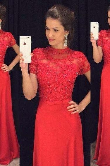 Gergeous Red Appliques Prom Dress, Short Sleeve Prom Dresses with Crystal, Long Evening Dress,2018 Short Sleeve Women Dresses, High Neck Wedding Guest Gowns , Women Pageant Gowns .