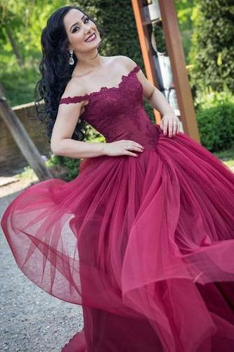 2018 New Arrival Off The Shoulder A-Line Prom Dresses,Long Prom Dresses,Cheap Prom Dresses, Evening Dress Prom Gowns, Formal Women Dress,Prom Dress,Burgundy Tulle Women Gowns .
