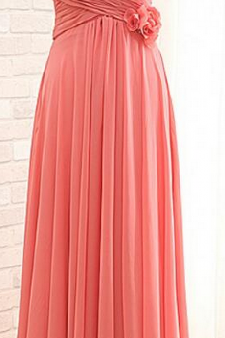 Floor Length A-line Empire Bridesmaid Dress,Coral Bridesmaid Dress ,2018 Plus Size Women Party Dresses,Hand Made Flowers Prom Gowns ,Brides maid Dresses , Wedding Party Gowns