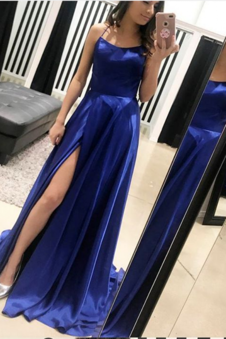 A-Line Spaghetti Straps Sweep Train Royal Blue Prom Dress with Split, 2018 Plus Size Women Party Gowns , Wedding Party Gowns ,A Line Women Gowns