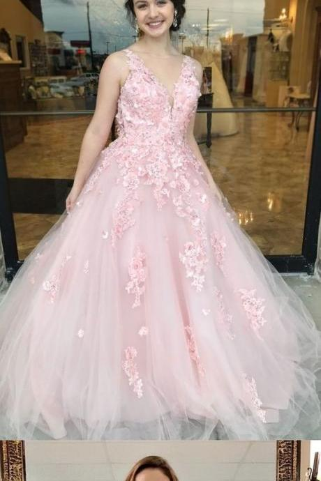 Beautiful Prom Dresses Straps V-neck A-line Pink Long Lace Prom Dress,2018 Plus Size Women Party Dresses,Sexy Backless Prom Dress, A Line Women Gowns ,Wedding Party Gowns .