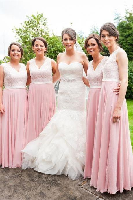 long bridesmaid dresses, unique lace top wedding party dresses, simple chiffon formal dresses with pleats,Pink Chiffon Women Party Dresses, 2018 Plus Size Bridesmaid Gowns