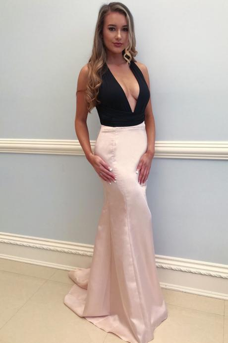 Deep V Neck Long Prom Dress, Sexy Sleeveless Mermaid Evening Party Dress,2018 Sexy Back Open Women Gowns, Wedding Guest Gowns, Mermaid Party Gowns