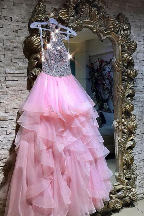 halter prom dress,ruffles prom dress,sequin beaded prom dress,pink ball gowns,2018 Sexy Beaded Corset Women Party Gowns ,Wedding Guest Gowns ,Women Party Dresses