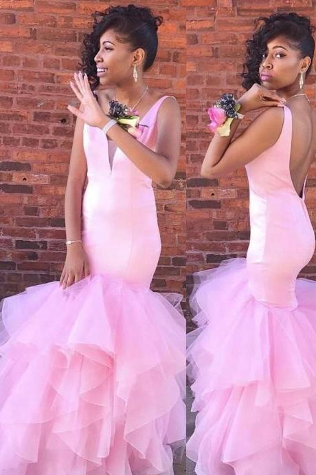 Gorgeous Mermaid Pink Long Prom Dress,2018 Plus Size Pink Tulle Mermaid Prom Dresses , Off Shoulder Wedding Guest Gowns , Sexy V-Neck Women Party Dresses, Skirts Tiers Evening Dresses