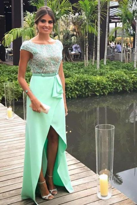 Mint Satin Beading Bodice Backless Prom Long Dresses with Cap Sleeves & Slit ,2018 Sexy Backless Prom Dress, Wedding Party Gowns ,Green Beaded Formal Gowns .