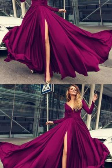 2018 High Slit Long Prom Dresses ,Sexy Plunge V-neck Long Sleeves Prom Dresses Leg Slit Evening Gowns,Plus Size Women Party Gowns ,Girls Prom Gowns .Long Sleeve Muslim Evening Dresses