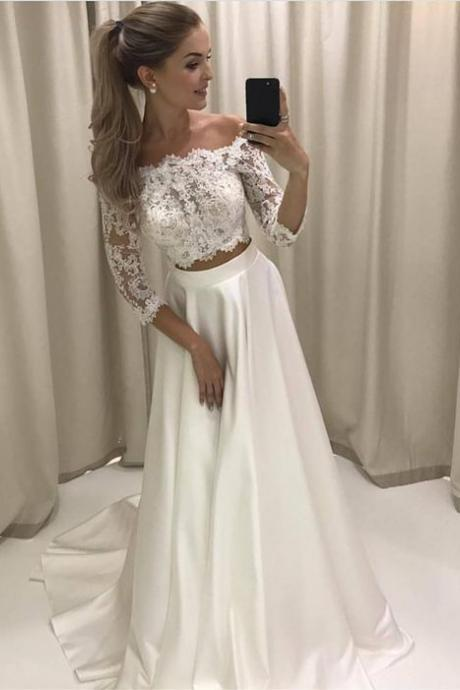 Boho Style Lace Sleeves Two Piece Wedding Dresses Off Shoulder Satin Beach Bridal Gowns,Two Pieces Prom Dresses,Women Party Gowns , Custom Made Women Gowns