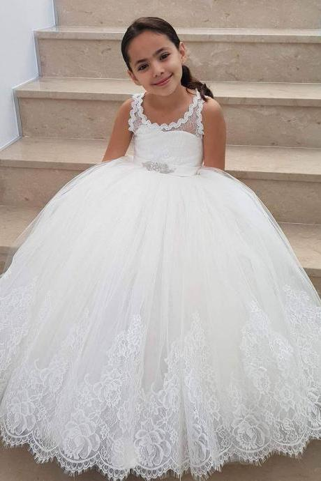 New Arrival White Lace Flower Girls Dresses, Plus Size Child Gowns , Wedding Lids Gowns .Pricess Women Party Gowns ,Party Gowns , Flowers Pageant Gowns