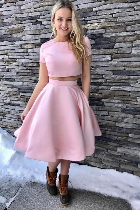 Short Sleeves Two Piece Satin Homecoming Dress with Pockets, 2018 New Arrival Two Pieces Prom Dresses, Girls Party Gowns ,Wedding Women Gowns ,Pageant Gowns