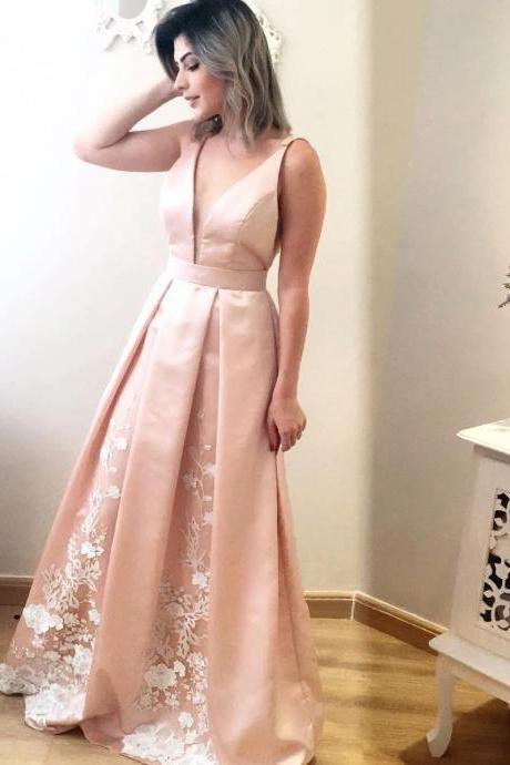 Long Deep V Neck Satin Evening Dress with Lace in the Pleated Skirt ,Prom Party Gown,Plus Size Women Girls Gowns ,Girls Party Gowns ,A Line Satin Prom Gowns .