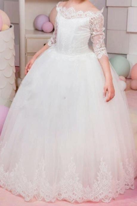 Soft Tulle Ball Gown Flower Girl Dresses Lace Bodice 3/4 Sleeves Kids Pageant Gowns,2018 Pricess Flower Girls Gowns ,Girls Party Gowns ,Beautfy Gowns Child