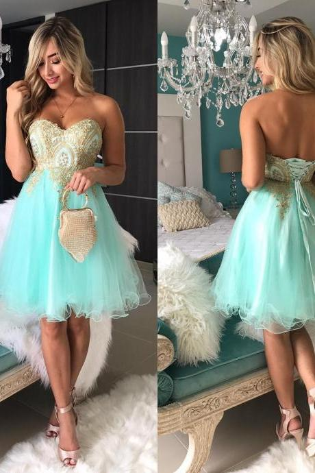 2018 Green Short Prom Dresses,Off SHoulder Gold Lace Prom Dresses, Mini Party Dresses,Girls Pageant Gowns ,Plus Size Women Party Gowns ,Wedding Guest Gowns,Short Cocktail Dress, Mini Prom Gowns .