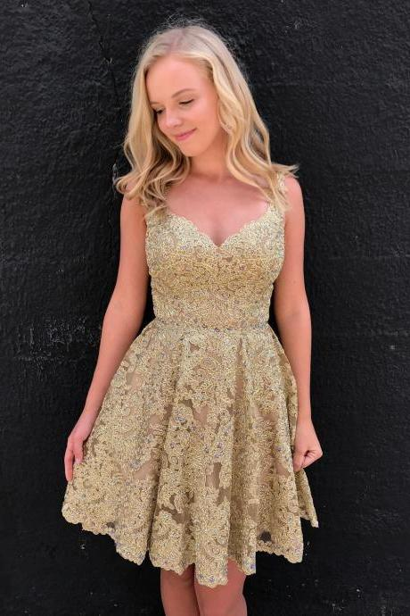 New Arrival Gold Lace Short Prom Dresses 2018 Sexy Sweetheart Mini Cocktail Gowns ,Custom Made Wedding party Gowns ,Knee Length Prom Gowns ,,Girls Graduation Dresses.