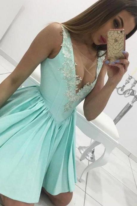 Illusion Deep V neck Mint Short Prom Dress with Appliques and Princess Waistline,Sexy Green Short Homecoming Dresses, Girls Pageant Gowns ,Wedding Party Gowns .Women Gowns .