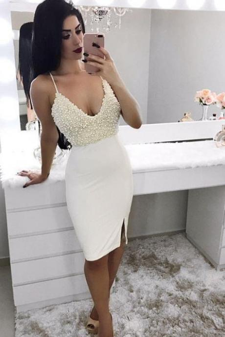 Sexy V -Neckline Short Sheath Dress Adorned with Pearls 2018 Plus Size Girls Pageant Dresses, Wedding Women Gowns ,Short Cocktail Dresses. Off Shoulder Party Gowns .Mini Party Gowns